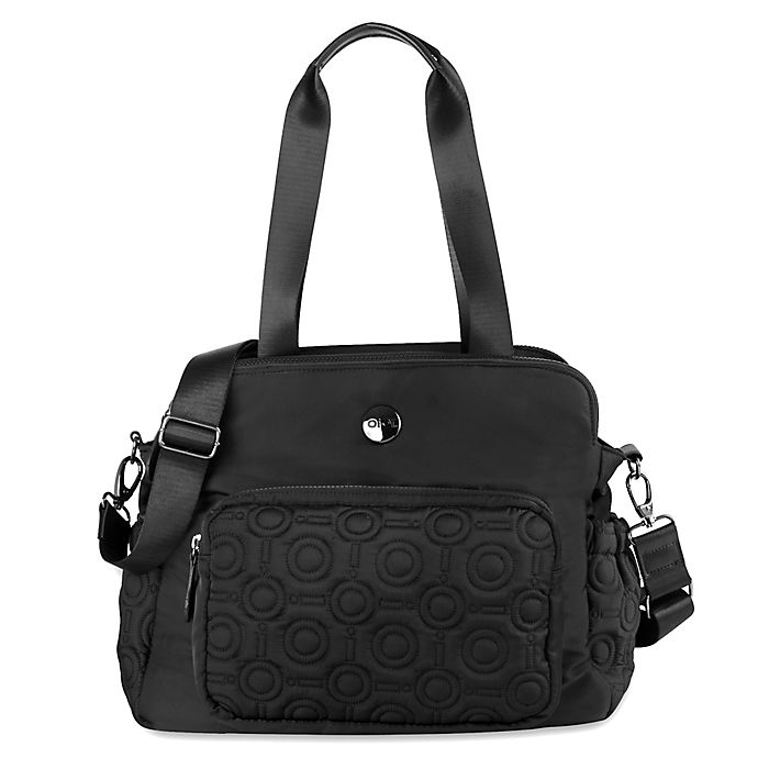 Alternate image 1 for OiOi Quilted Satchel Diaper Bag in Black