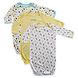 Luvable Friends 3-Pack Cotton Infant Gowns in Yellow