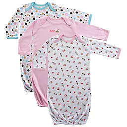 Luvable Friends 3-Pack Cotton Infant Gowns in Pink