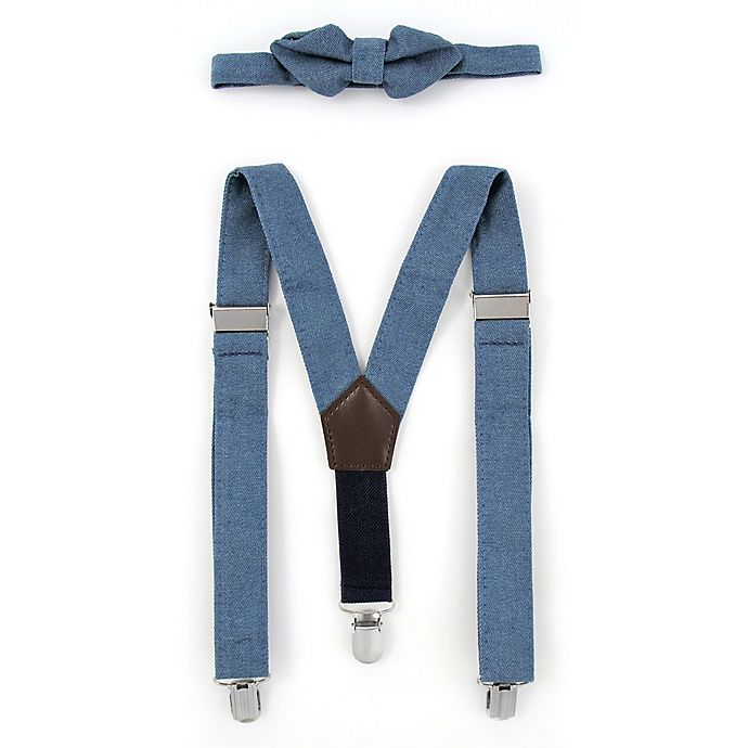 Alternate image 1 for Rising Star™ Infant/Toddler 2-Piece Chambray Suspender and Bowtie Set in Blue