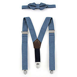 Rising Star™ Infant/Toddler 2-Piece Chambray Suspender and Bowtie Set in Blue