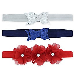 Capelli New York 3-Pack Americana Bow and Flower Headbands