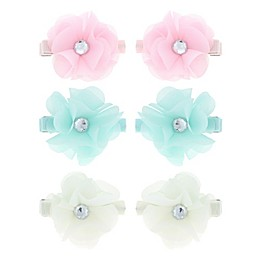 Capelli New York 6-Pack Jeweled Flower Hair Clips