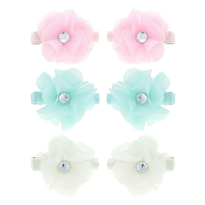 Alternate image 1 for Capelli New York 6-Pack Jeweled Flower Hair Clips