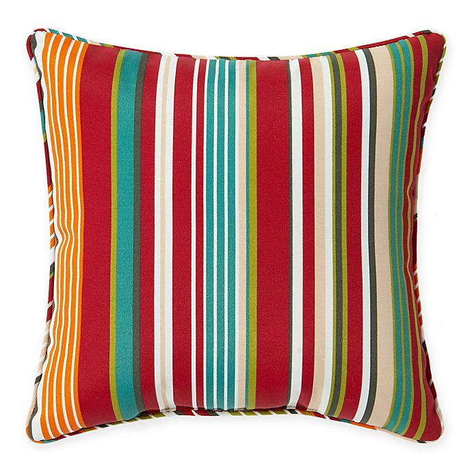 Stripe Outdoor 17 Inch Square Throw Pillow Bed Bath Amp Beyond