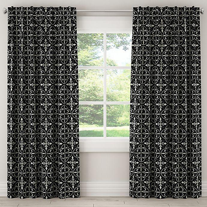 Alternate image 1 for Paris Tile Rod 84-Inch Pocket/Back Tab Window Curtain Panel in Black