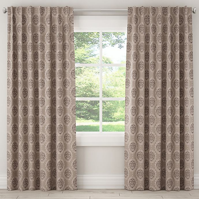 Alternate image 1 for Damask 84-Inch Rod Pocket/Back Tab Window Curtain Panel in Grey