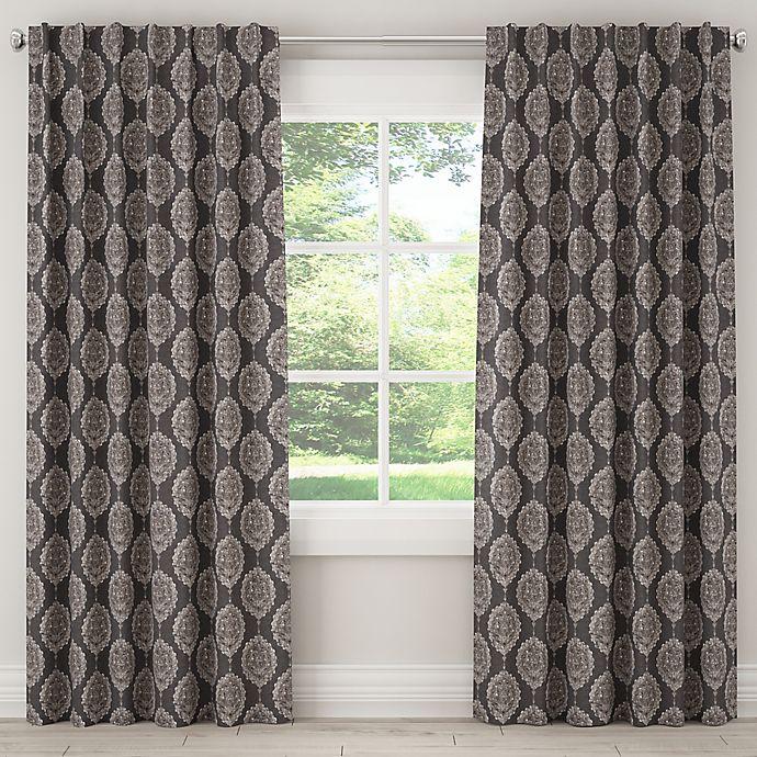 Alternate image 1 for Damask 84-Inch Rod Pocket/Back Tab Window Curtain Panel in Black