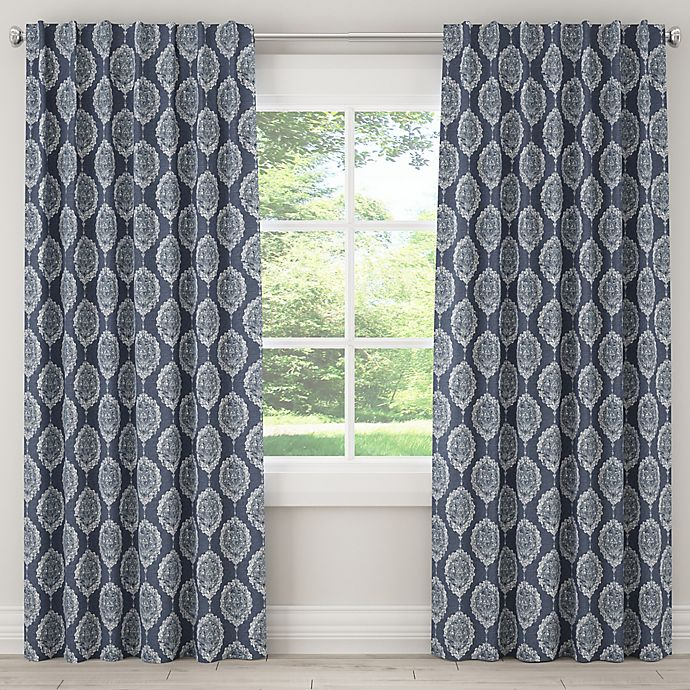 Alternate image 1 for Damask 84-Inch Rod Pocket/Back Tab Window Curtain Panel in Blue