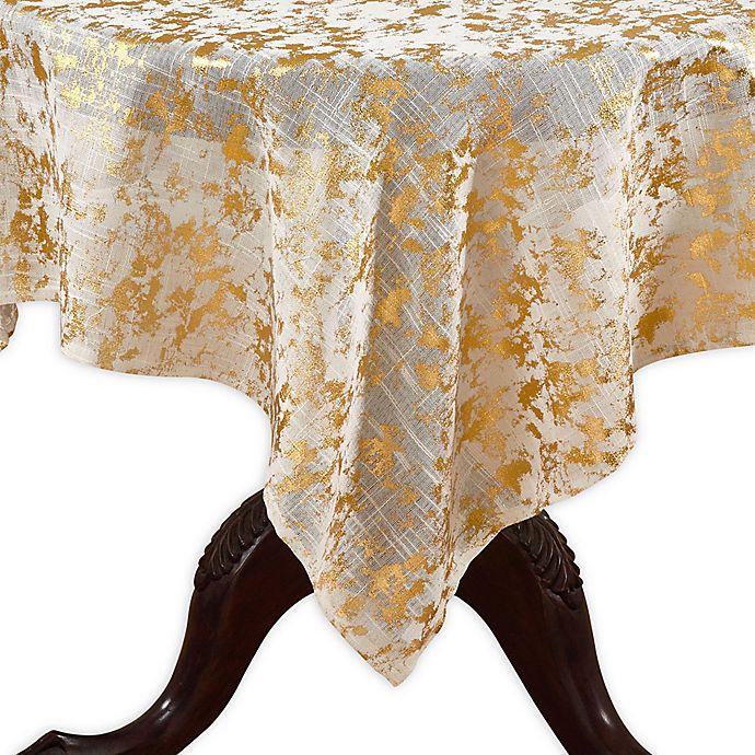 Alternate image 1 for Saro Lifestyle Bottega Foil 52-Inch Square Tablecloth in Gold