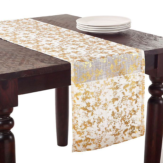 Alternate image 1 for Saro Lifestyle Bottega Foil 72-Inch Table Runner in Gold