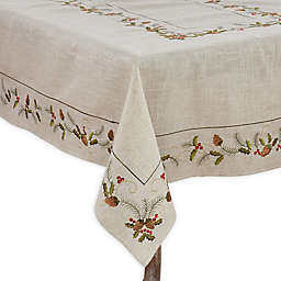 Saro Lifestyle Joyeuses Fêtes Tablecloth in Natural