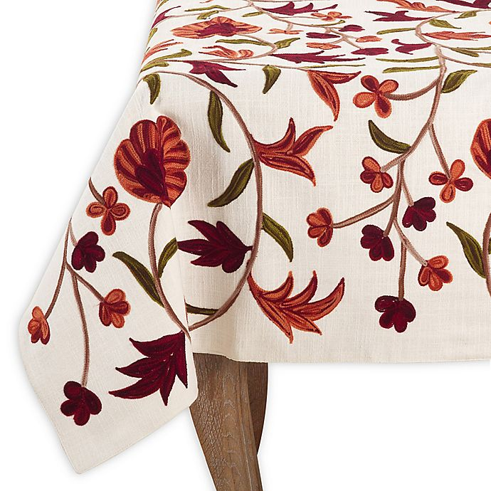 Alternate image 1 for Saro Lifestyle Giada 54-Inch Square Tablecloth in Ivory