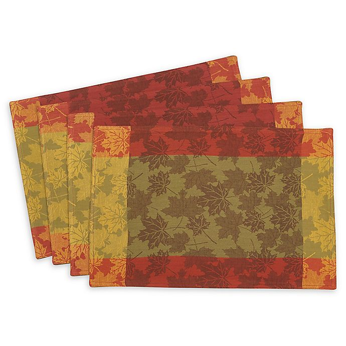 Alternate image 1 for Saro Lifestyle Foliage Placemats in Green (Set of 4)