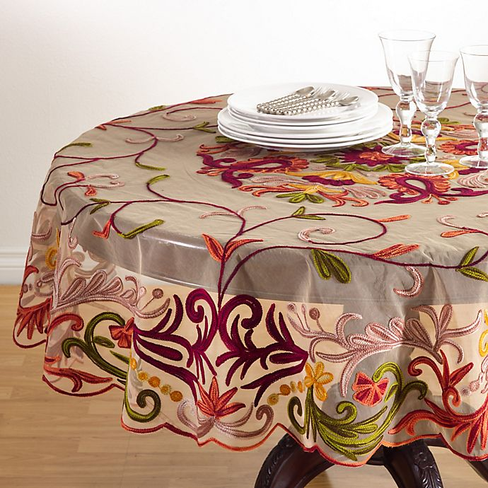 Alternate image 1 for Saro Lifestyle Alessandra 72-Inch Round Multicolored Tablecloth