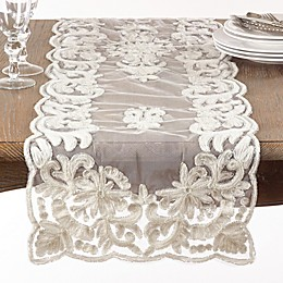 Saro Lifestyle Alessandra Beaded 72-Inch Table Runner in Ivory