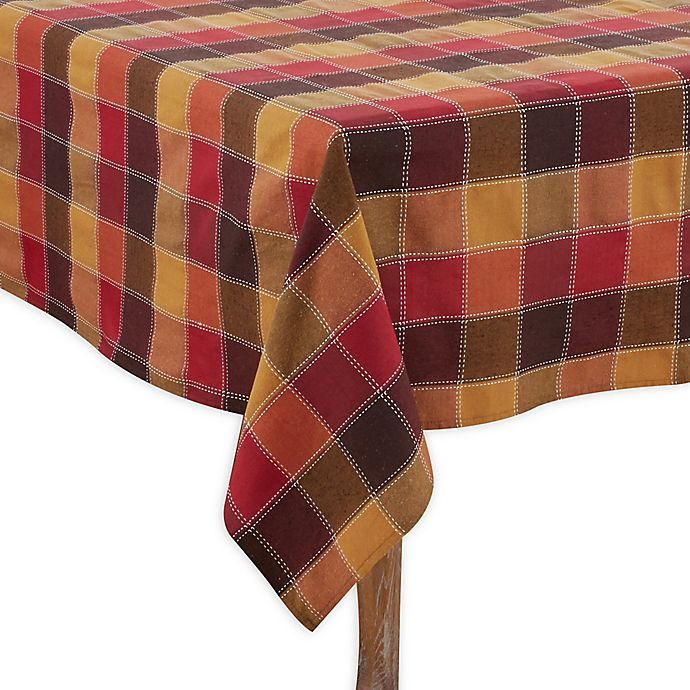 Alternate image 1 for Saro Lifestyle Harvest Plaid Stitched Tablecloth