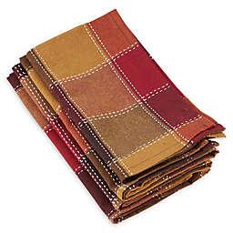Saro Lifestyle Harvest Plaid Stitched Napkins (Set of 4)