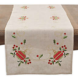 Saro Lifestyle Holly Ornament Table Runner in Natural