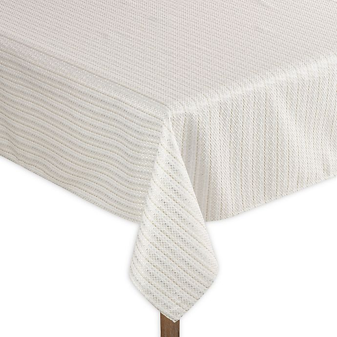 Alternate image 1 for Saro Lifestyle Gloria 70-Inch Square Tablecloth in Ivory