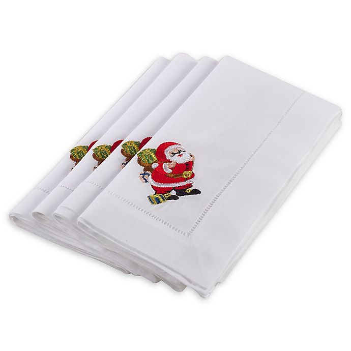 Alternate image 1 for Saro Lifestyle Hemstitched Santa Clause Napkins in White (Set of 4)