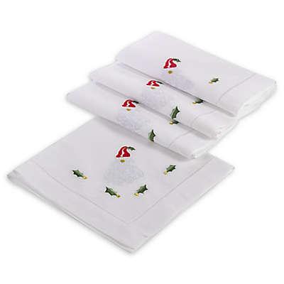 Saro Lifestyle Hemstitched Christmas Holiday Napkins in White (Set of 4)