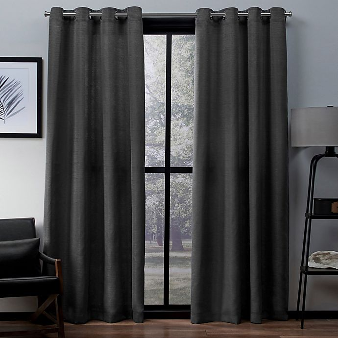 Alternate image 1 for Exclusive Home Virenze 96-Inch Grommet Top Window Curtain Panel Pair in Black Pearl