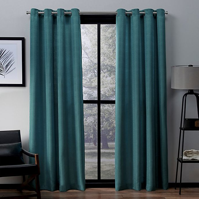 Alternate image 1 for Exclusive Home Virenze 96-Inch Grommet Top Window Curtain Panel Pair in Teal