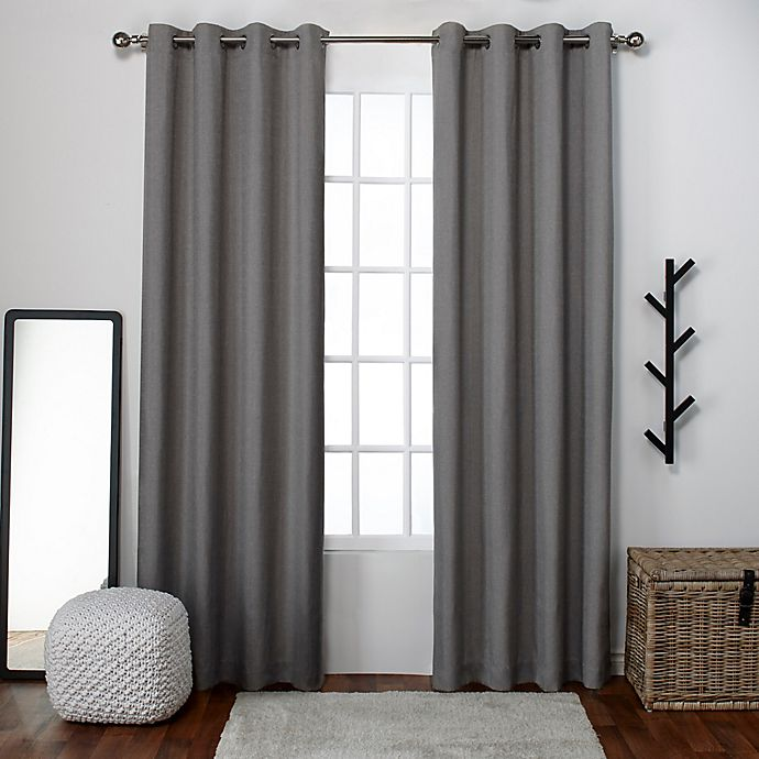 Alternate image 1 for Loha 2-Pack 84-Inch Grommet Window Curtain Panels in Black Pearl