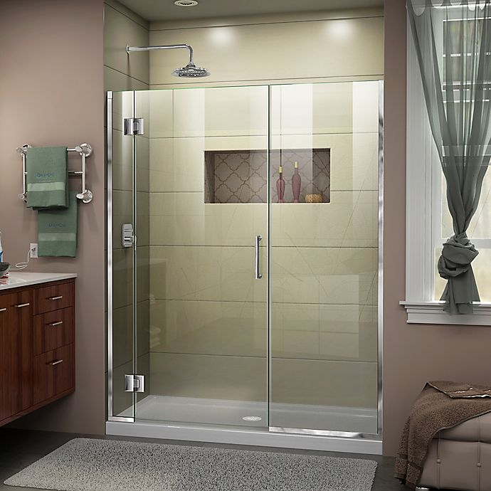 Alternate image 1 for DreamLine® Unidoor-X 60-60.5-Inch x 72-Inch Frameless Hinged Shower Door in Chrome