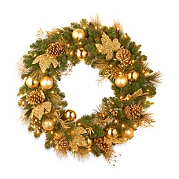 National Tree Company 3-Foot Decorative Collection Elegance Pre-lit Wreath with Clear LED Lights