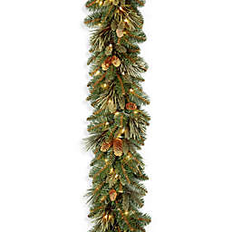 National Tree Company Carolina Pine Garland with 27 Flocked Pine Cones and 100 Clear Lights