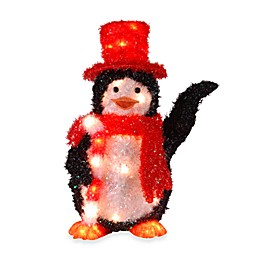 National Tree Company 22-Inch Pre-lit Tinsel Penguin with Candy Cane