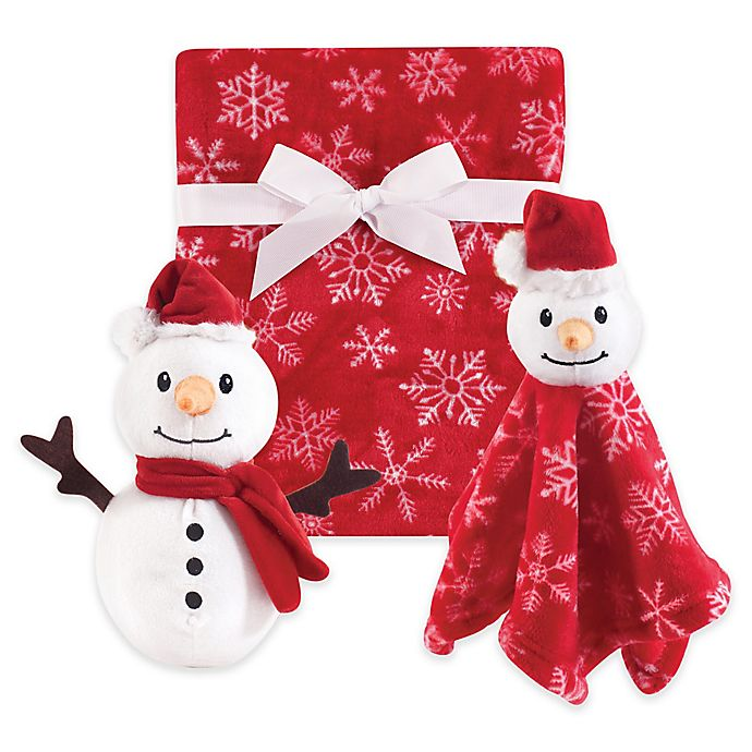 Alternate image 1 for Hudson Baby® 3-Piece Snowman Blanket Gift Set in Red