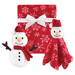 Hudson Baby® 3-Piece Snowman Blanket Gift Set in Red