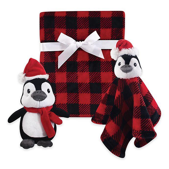 Alternate image 1 for Hudson Baby® 3-Piece Penguin Blanket Gift Set in Red