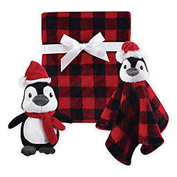 Hudson Baby® 3-Piece Penguin Blanket Gift Set in Red