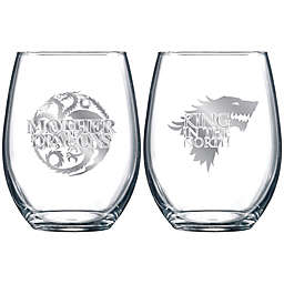 Game of Thrones® Stark and Targaryen 2-Piece Stemless Glass Set