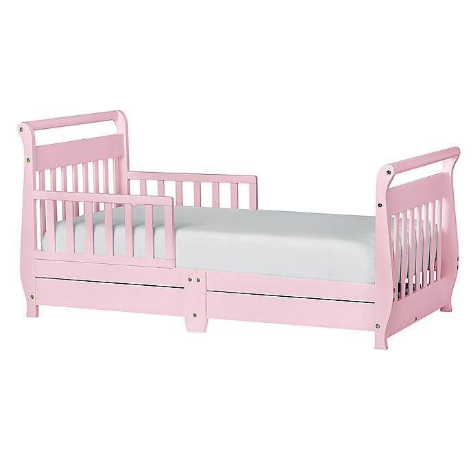 Dream On Me Sleigh Toddler Bed With Storage Drawers In