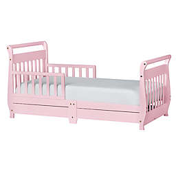Dream On Me Sleigh Toddler Bed with Storage Drawers in Pink