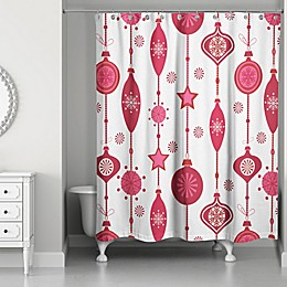 Designs Direct Ornaments 71-Inch x 74-Inch Shower Curtain in Red