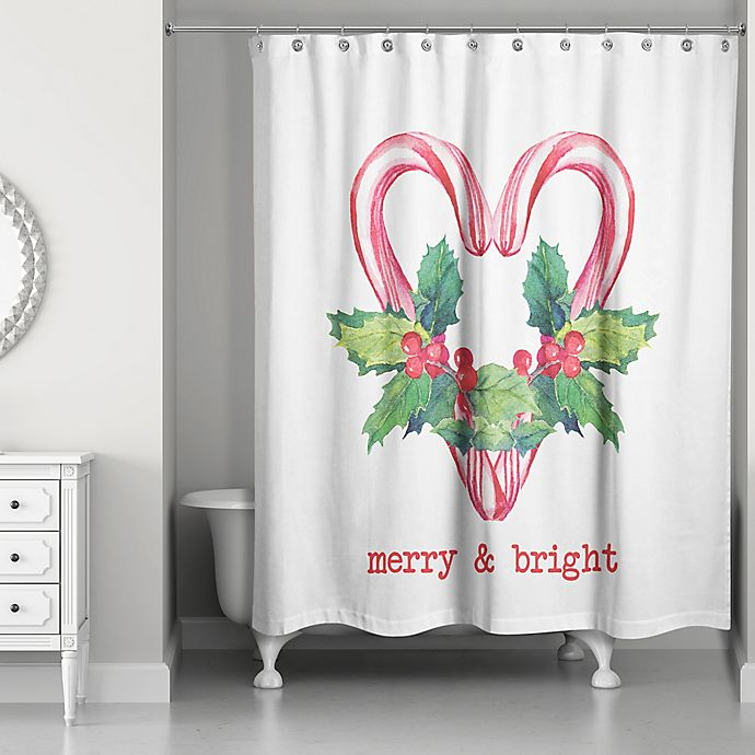 Designs Direct Merry And Bright Candy Canes 71 Inch X 74 Shower Curtain