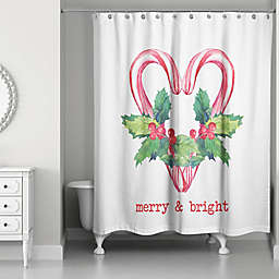 Designs Direct Merry and Bright Candy Canes 71-Inch x 74-Inch Shower Curtain