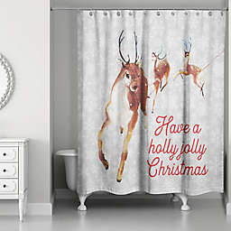 Designs Direct Have a Holly Jolly Christmas 71-Inch x 74-Inch Shower Curtain