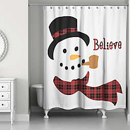 Designs Direct Believe Snowman 71-Inch x 74-Inch Shower Curtain