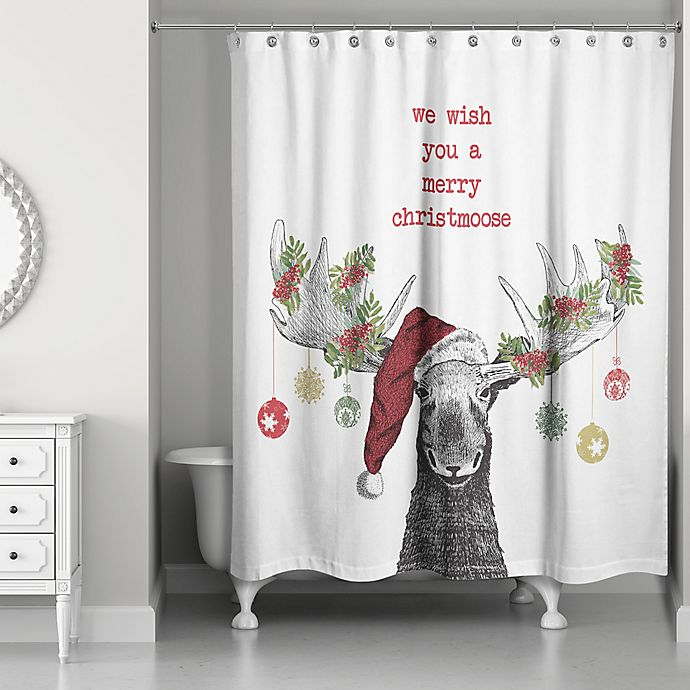 Designs Direct Christmas Moose Shower Curtain In Red Bed