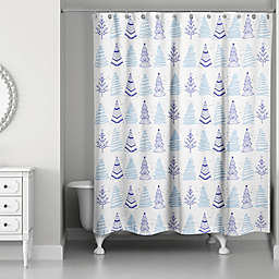 Christmas Tree Doodle 71-Inch x 74-Inch Shower Curtain