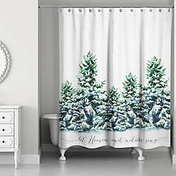 Designs Direct Snowy Winter Forest Shower Curtain