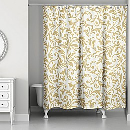 Designs Direct Gold Baroque Christmas Shower Curtain
