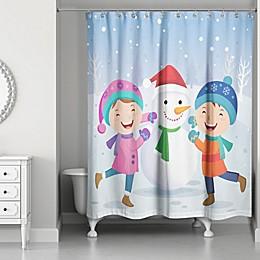 Designs Direct Children Snowman Christmas Shower Curtain